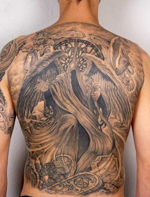 Ангел на всю спину тату фото - 1