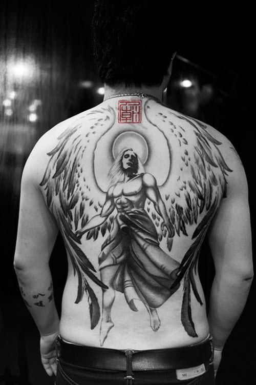 Ангел на всю спину тату фото - 2