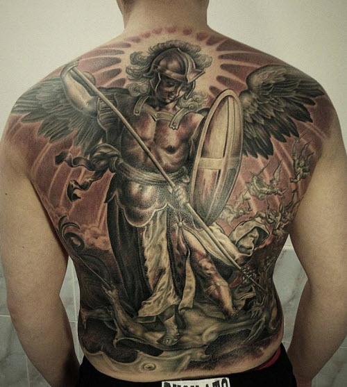 Ангел на всю спину тату фото - 7
