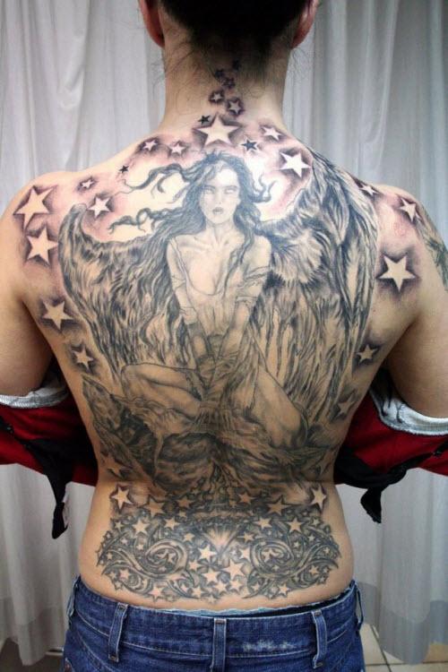 Ангел на всю спину тату фото - 8