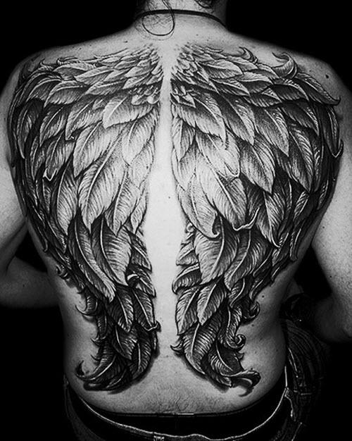 Ангел на всю спину тату фото - 9