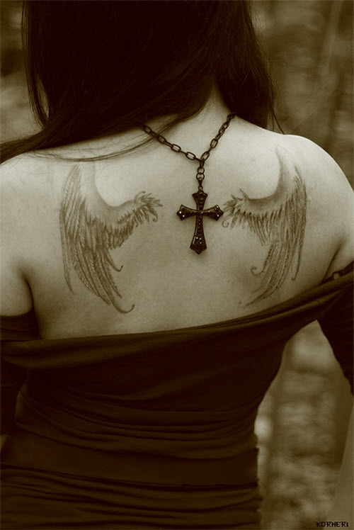 Белое тату ангелов фото - 2