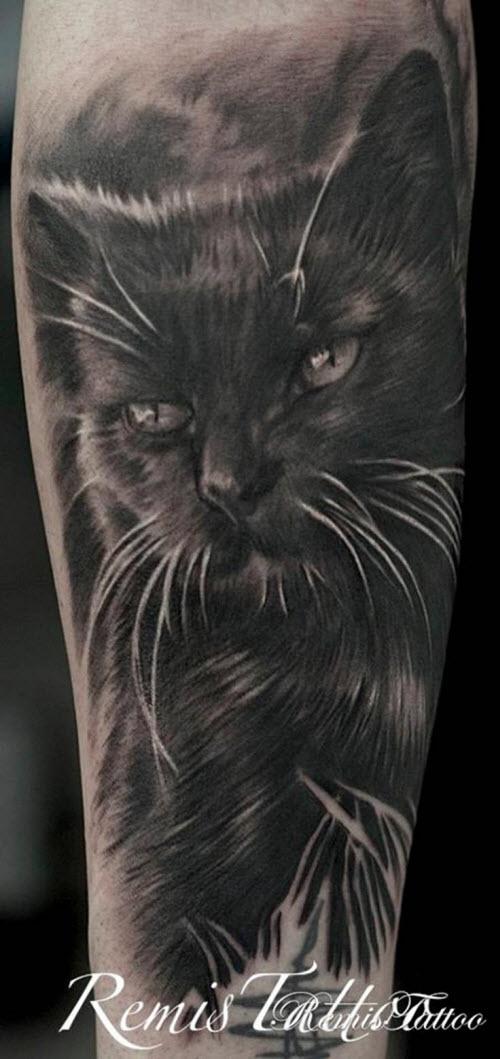 Фото кошек черно белое тату - 5