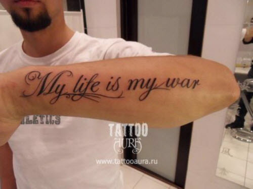 Фото мужских тату на руке надписи - 3