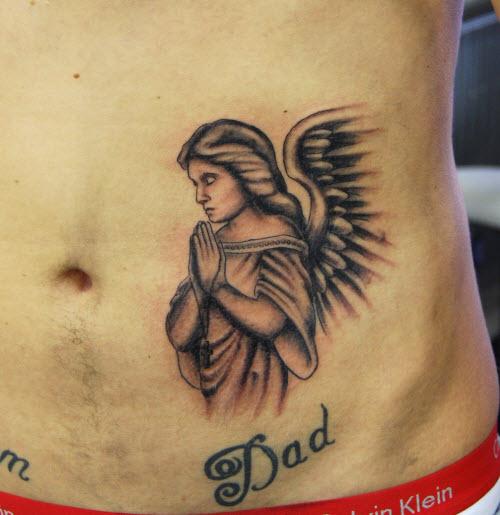 Фото тату ангела на животе