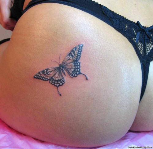 Фото тату бабочка на ягодицах - 0