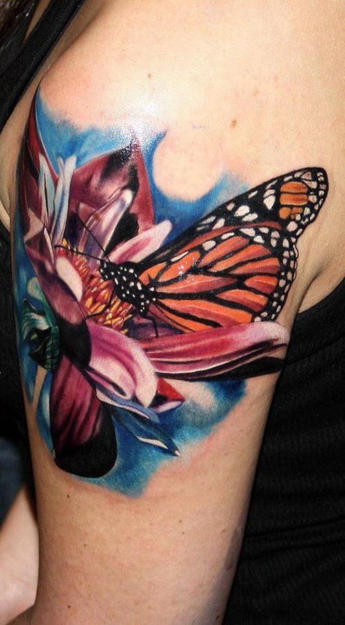 Фото тату бабочка с цветком - 7