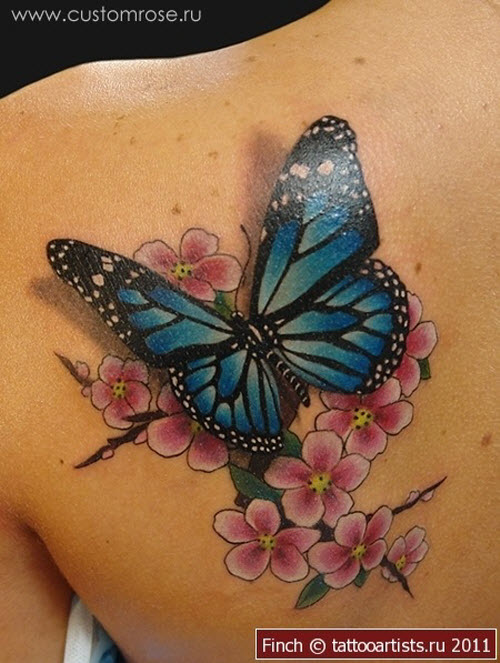 Фото тату бабочка с цветком - 8