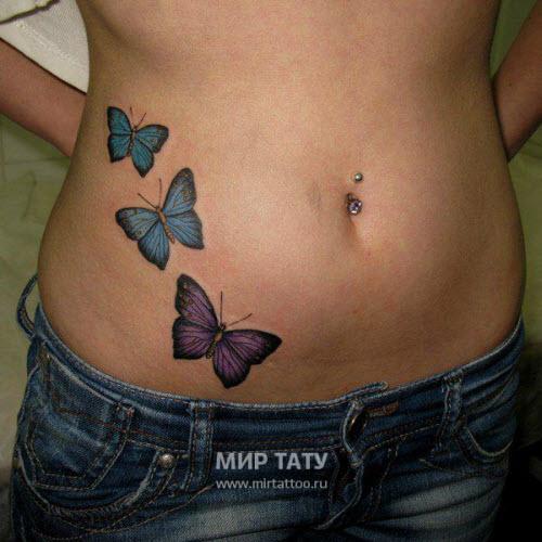 Фото тату бабочки на животе - 4