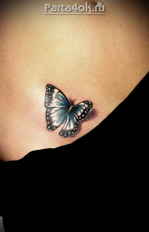 Фото тату бабочки на животе - 7