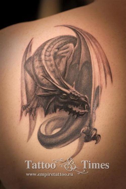 Фото тату дракона на лопатке - 5