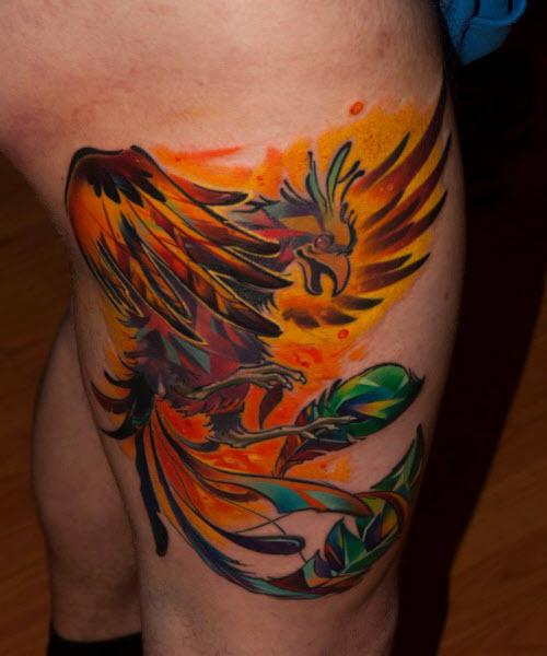 Фото тату жар птицы на ноге - 2