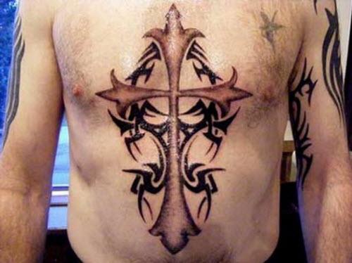 Фото тату крестов на животе - 8