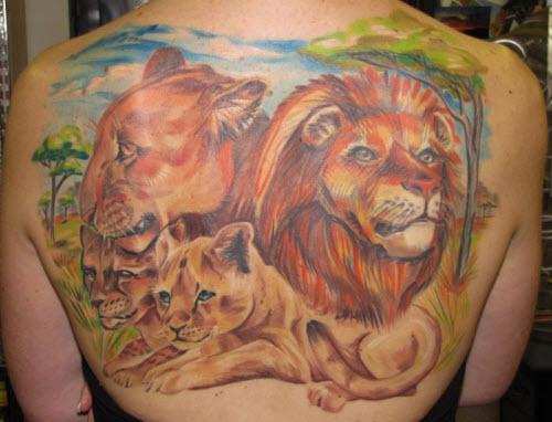Фото тату льва во всю спину - 2