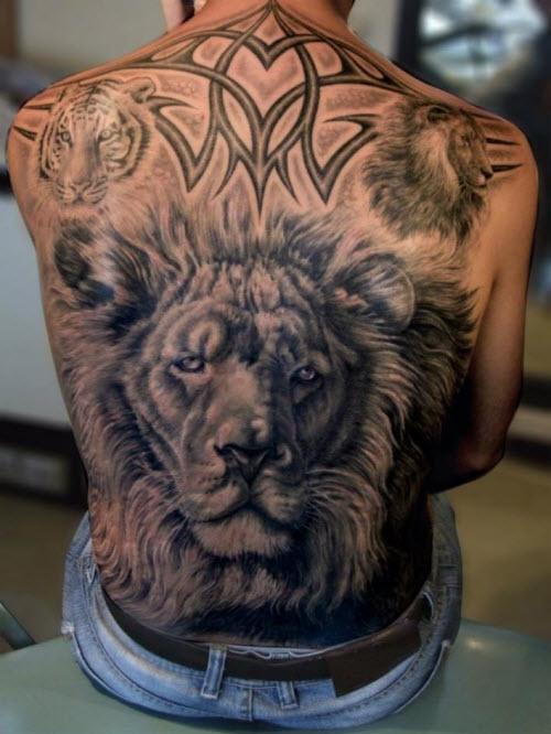 Фото тату льва во всю спину - 4