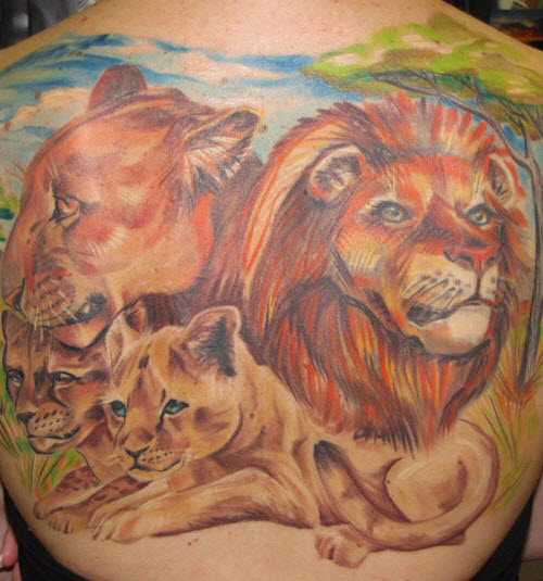 Фото тату льва во всю спину - 7