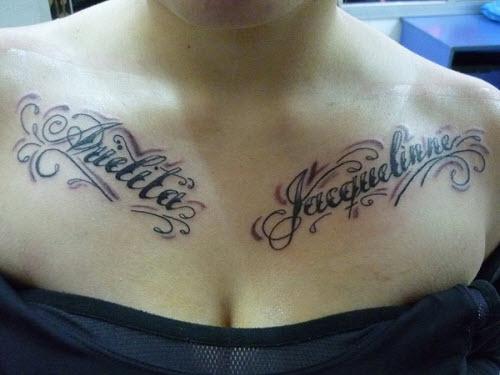 Фото тату на грудь с именами - 0