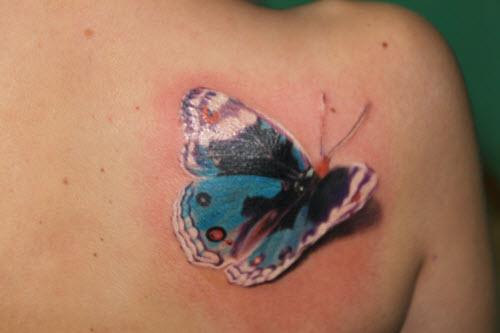 Фото тату на лопатке женские бабочки - 1