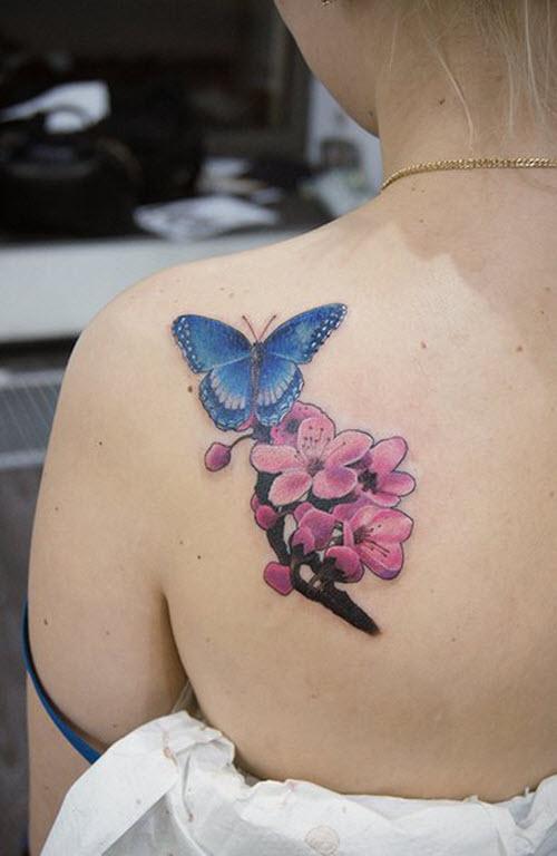 Фото тату на лопатке женские бабочки - 6