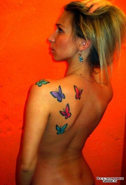 Фото тату на лопатке женские бабочки - 8