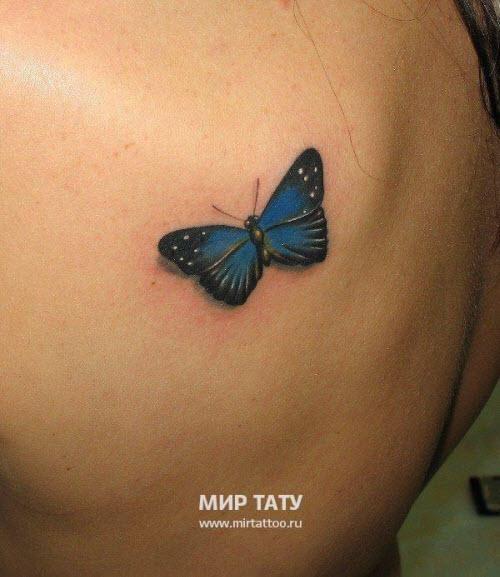 Фото тату на лопатке женские бабочки - 9