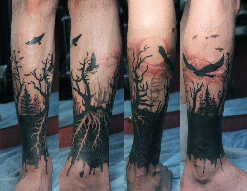 Фото тату на ноге для парней - 2