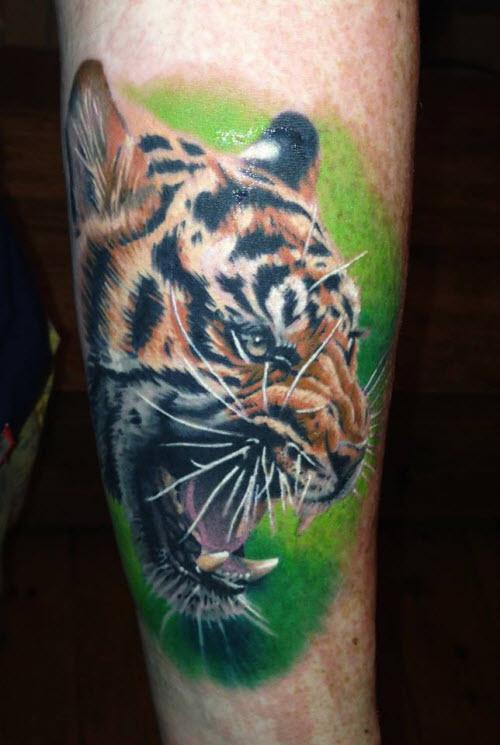 Фото тату пасть тигра