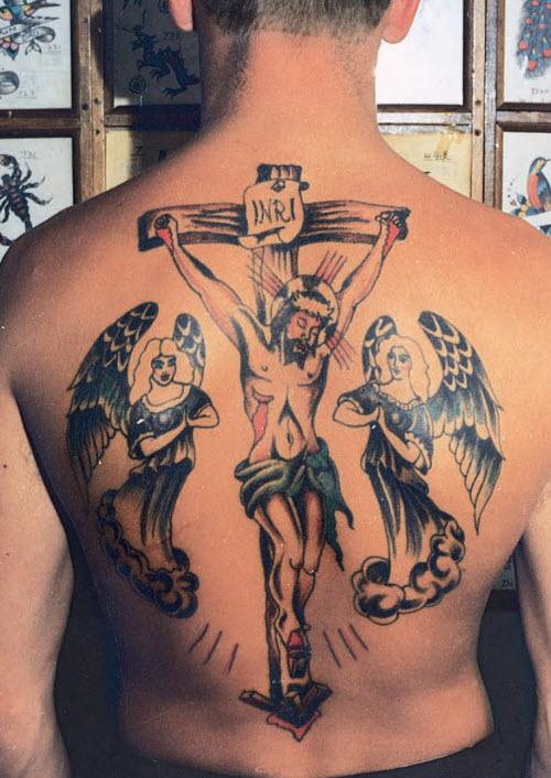 Фото тату распятие христа на спине - 6