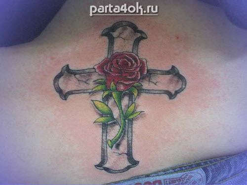 Фото тату роза и крест - 5