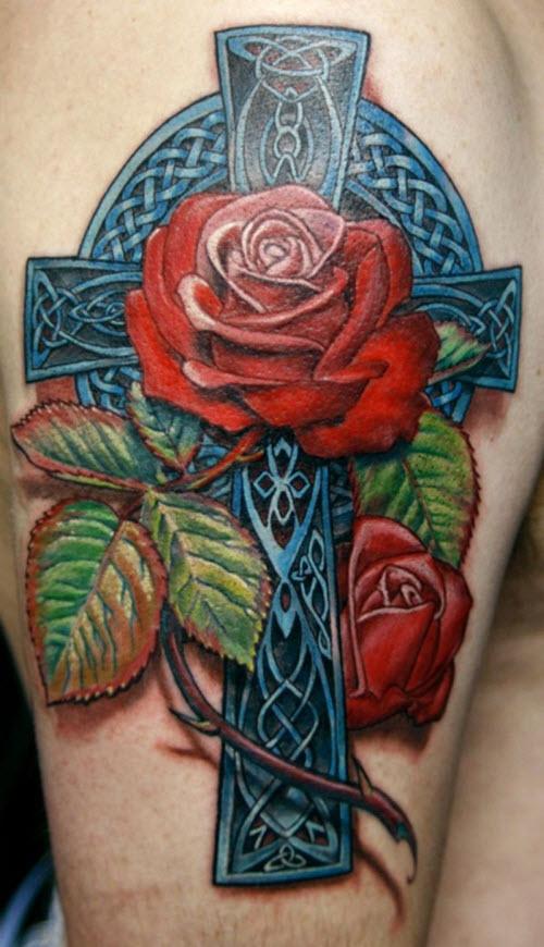 Фото тату роза и крест - 6