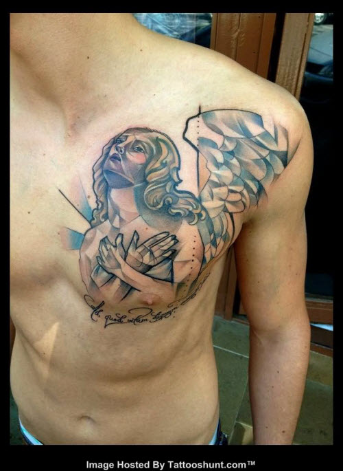 Фото тату с ангелами на груди - 4