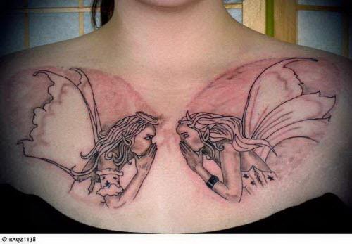 Фото тату с ангелами на груди - 9
