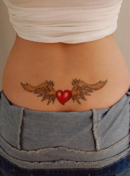 Фото тату с крыльями ангела на поясницу