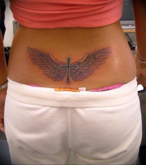 Фото тату с крыльями ангела на поясницу - 2