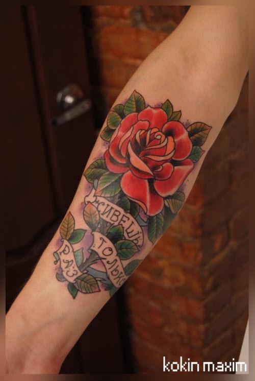 Фото тату с розой на руке - 7