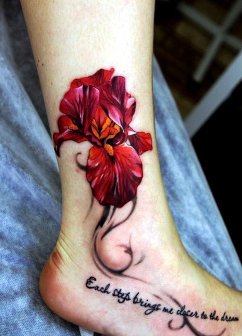 Фото тату цветы на щиколотке - 2