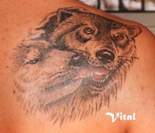 Фото тату волка на лопатке мужские