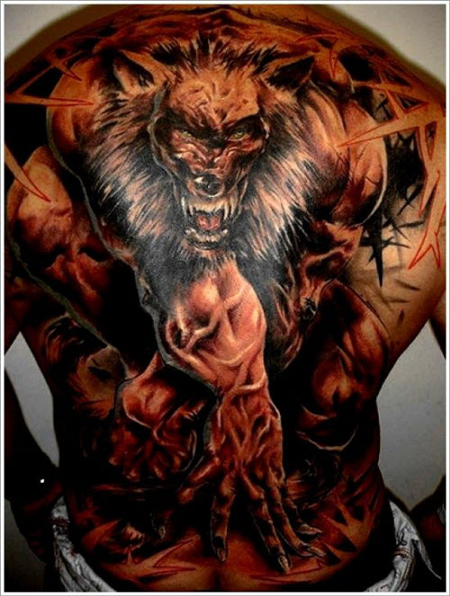 Фото тату волка на спине мужские - 1
