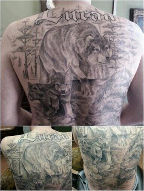 Фото тату волка на спине мужские - 5