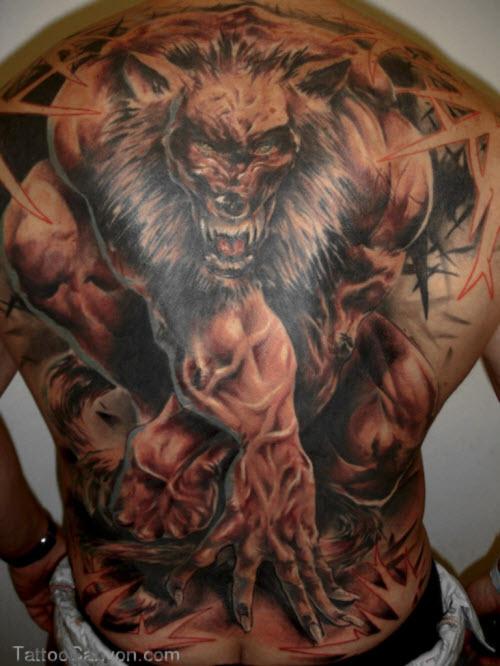 Фото тату волка на спине мужские - 7