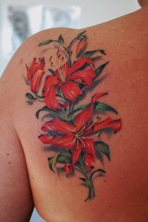 Фото ветки цветов тату - 1