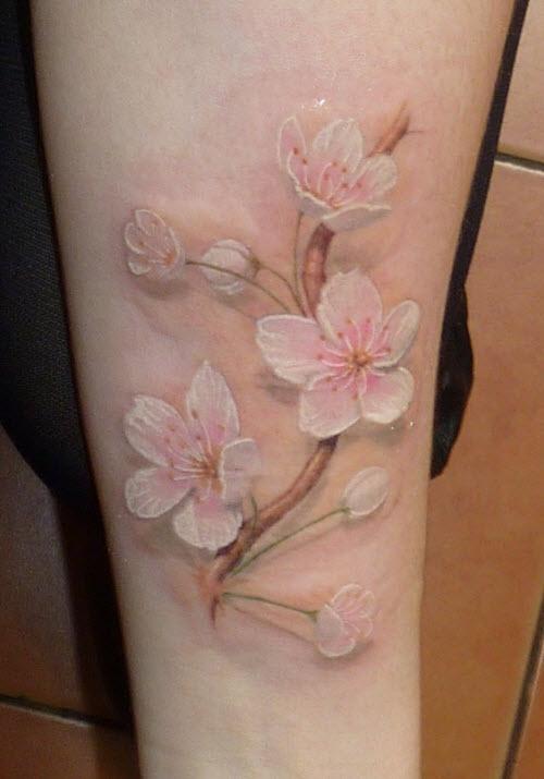 Фото ветки цветов тату - 3