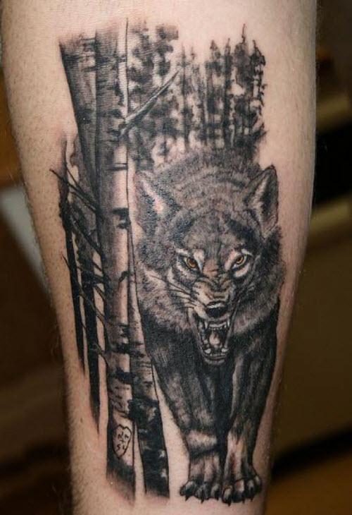 Фото волка в лесу для тату - 4