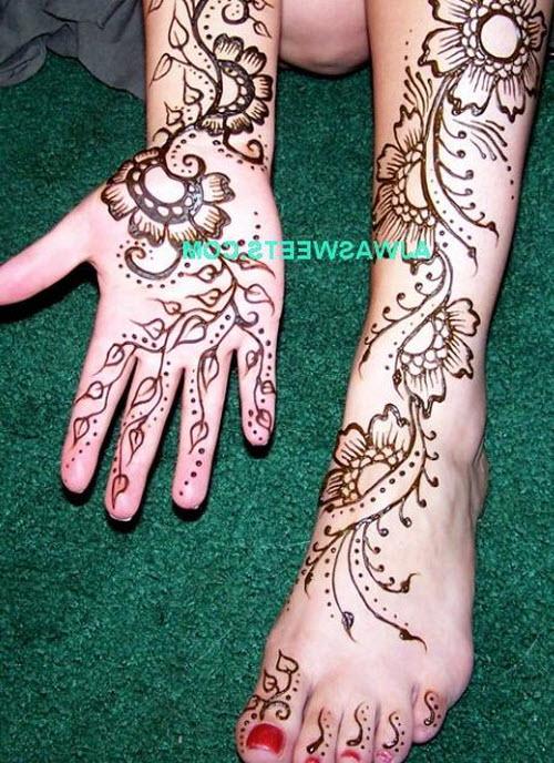 Индийское тату хной на руке фото - 3