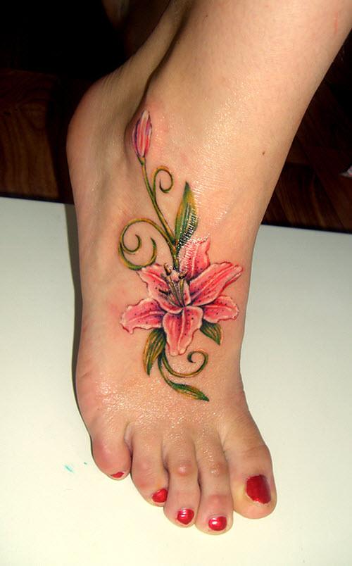 Фото тату на ноге для девушки цветы