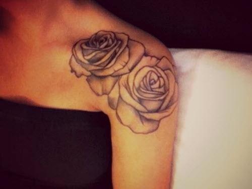 Женские тату на плече фото розы - 2