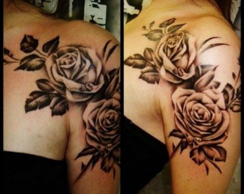Женские тату на плече фото розы - 3