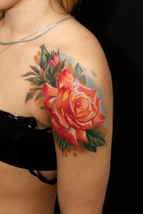 Женские тату на плече фото розы - 4