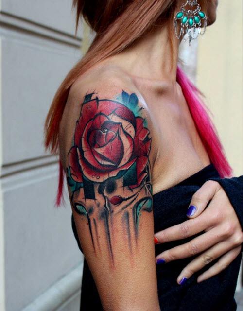 Женские тату на плече фото розы - 6
