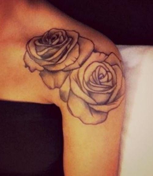 Женские тату на плече фото розы - 8
